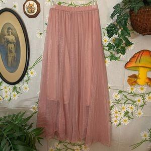 Muted pink gold shimmer chiffon mesh overlay skirt